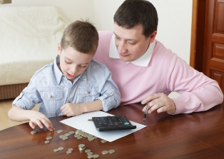 Father training the son to the finance